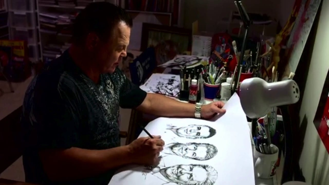 Jerry Lawler makes portrait of McMahon Family