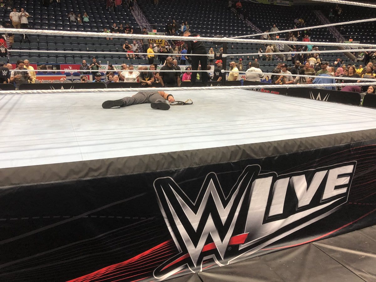 Dean Ambrose remains laying in the ring after WWE Live Event ends