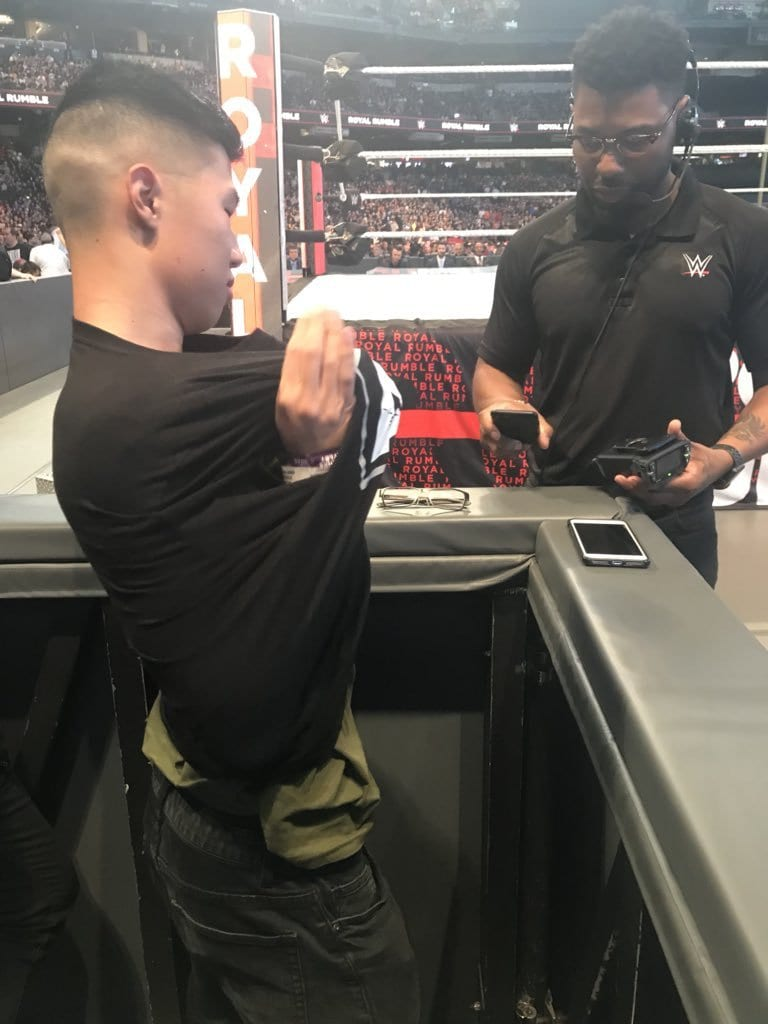 Fan Forced To Remove AEW All Elite Wrestling Shirt At Royal Rumble 2019