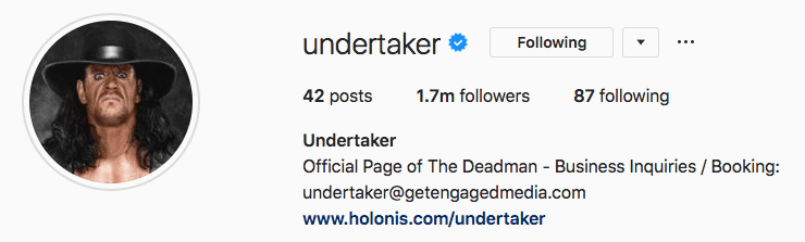 The Undertaker Official Instagram