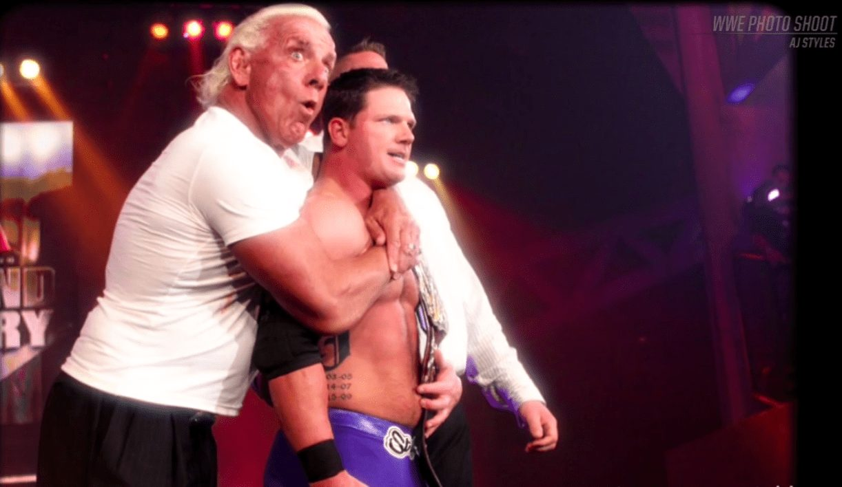 Photo of AJ Styles with Ric Flair in TNA shown on the WWE Network WWE Photo Shoot Episode