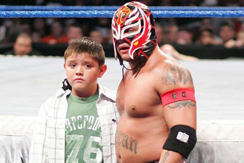 Rey Mysterio with his son Dominic in WWE