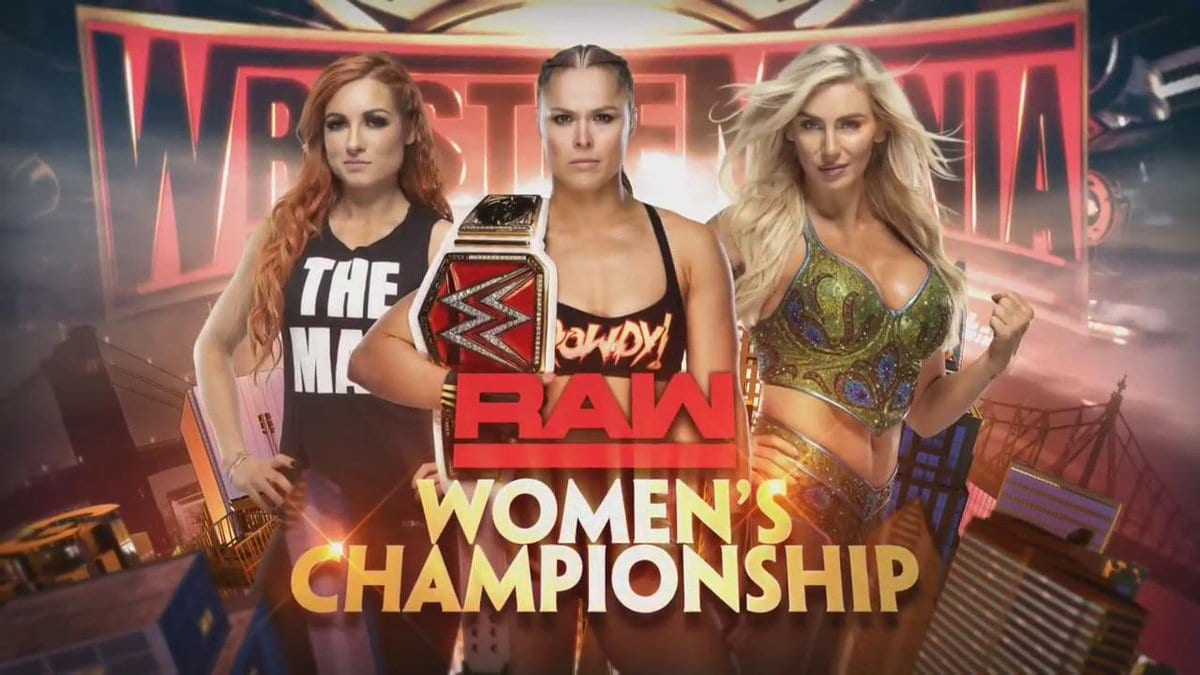 Ronda Rousey vs. Becky Lynch vs. Charlotte Flair - WrestleMania 35 Official Graphic