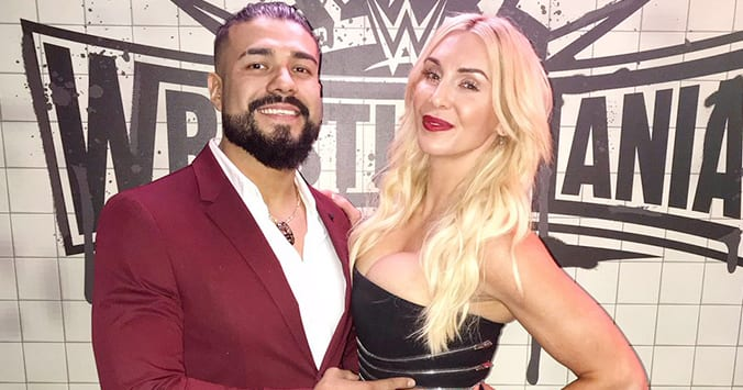 Charlotte Flair with her boyfriend Andrade during WWE WrestleMania 35 Weekend