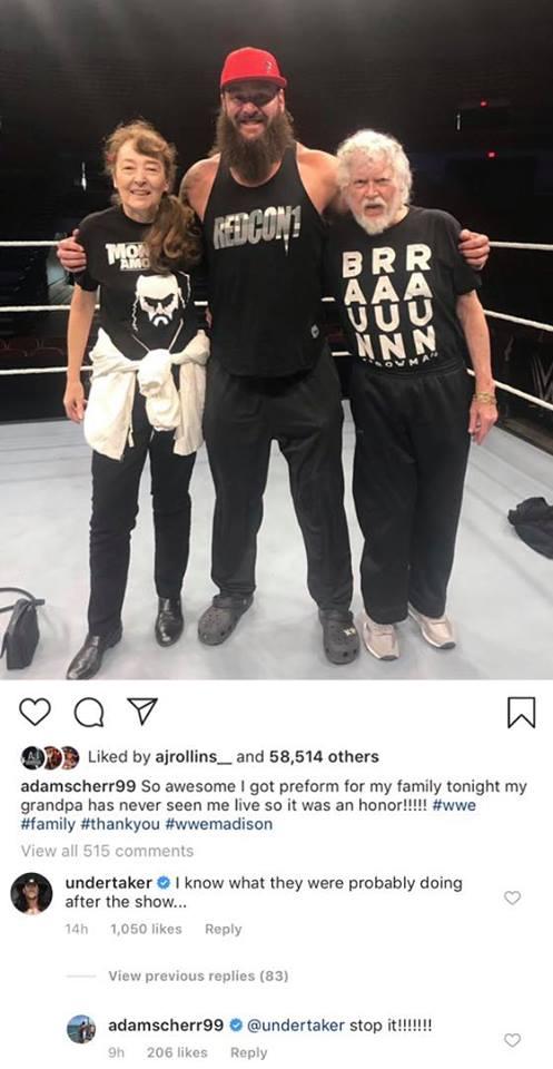 The Undertaker Trolls Braun Strowman On Instagram