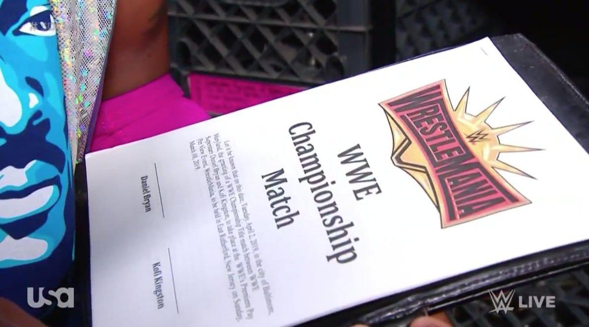 WWE's Funny Botch In Kofi Kingston Daniel Bryan WrestleMania 35 WWE Title Match Contract