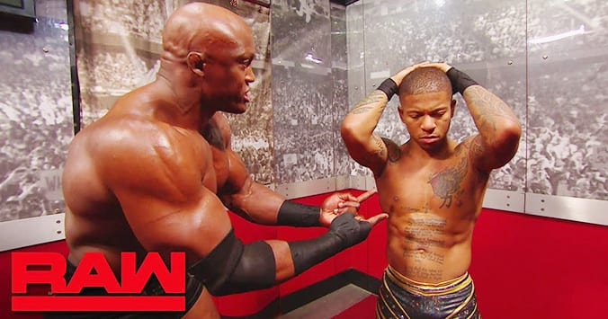 Bobby Lashley Lio Rush Backstage On RAW