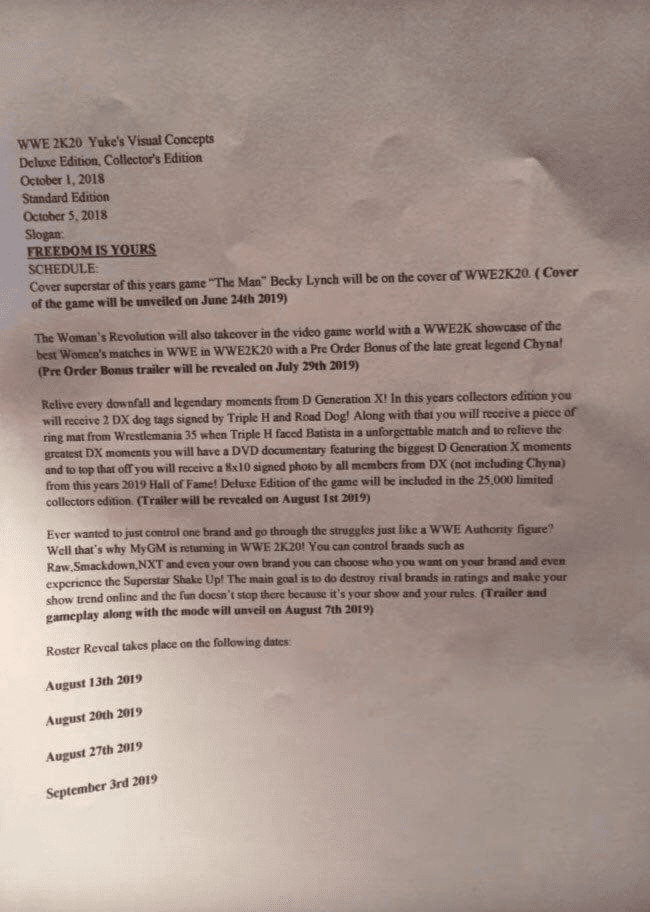 Chyna to be the pre order bonus character in WWE 2K20 video game according to leaked document