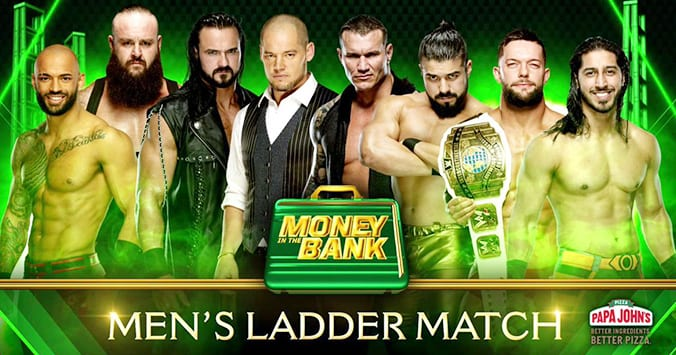 Men's Money In The Bank 2019 Ladder Match Ricochet Braun Strowman Drew McIntyre Baron Corbin Randy Orton Andrade Finn Balor Ali