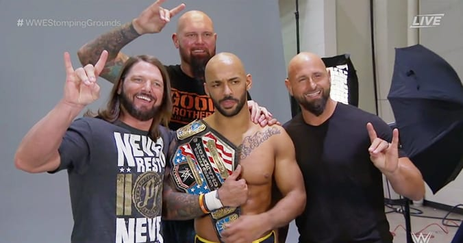 AJ Styles United States Champion Ricochet Luke Gallows Karl Anderson WWE Stomping Grounds 2019