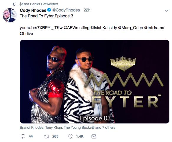 Sasha Banks Promotes All Elite Wrestling AEW Fyter Fest