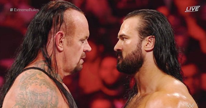 The Undertaker Drew McIntyre face to face WWE Extreme Rules 2019