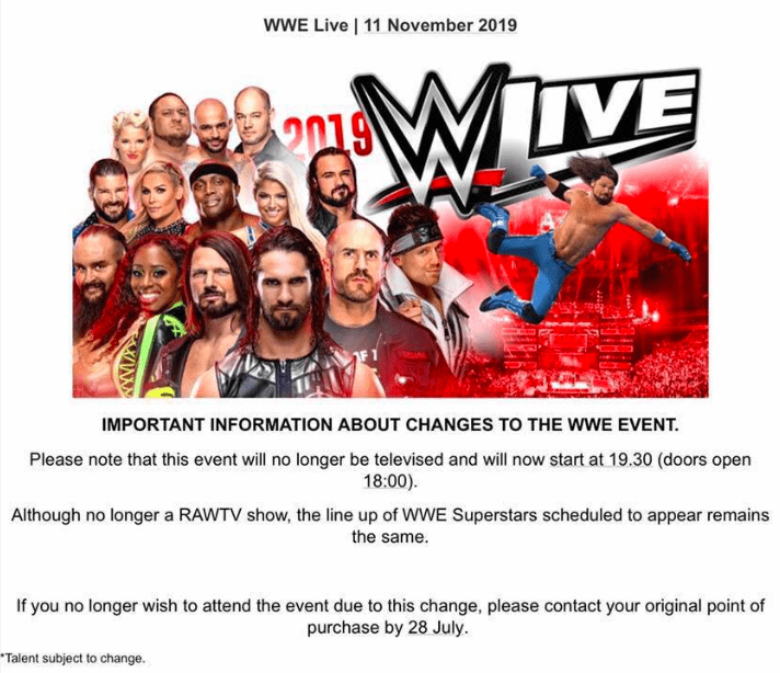 WWE Cancels November 11, 2019 RAW TV Show Taping