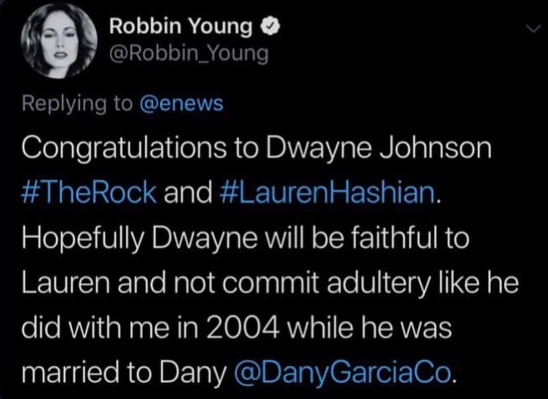 Robbin Young Claims The Rock Had An Affair With Her & Committed Adultery In 2004