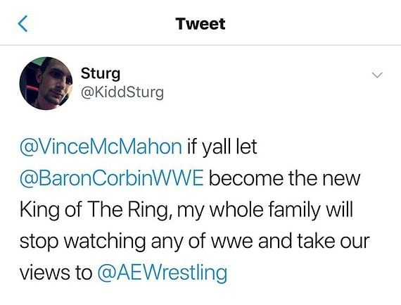 Baron Corbin Reacts To A Fan Saying He Would Stop Watching WWE & Start Watching AEW If Corbin Wins King Of The Ring