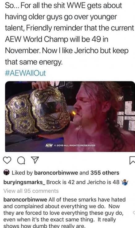 Baron Corbin Rips Smarks Over Chris Jericho's AEW World Title Win
