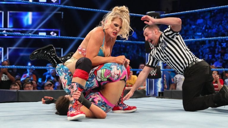 Bayley's thong exposed during Lacey Evans match on SmackDown