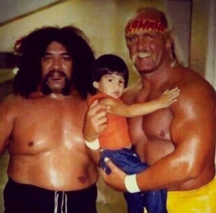 Baby Roman Reigns with Hulk Hogan during the 1980s WWF Golden Era