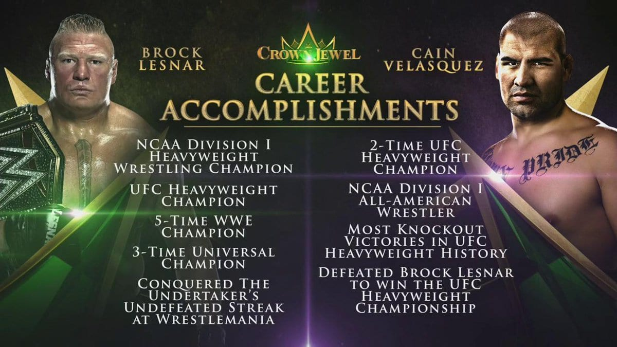 Brock Lesnar Cain Velasquez Career Accomplishments - WWE Crown Jewel 2019 Graphic