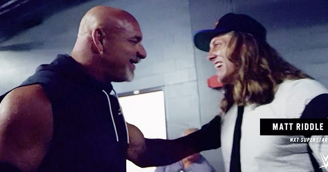 Goldberg and Matt Riddle backstage at WWE SummerSlam 2019