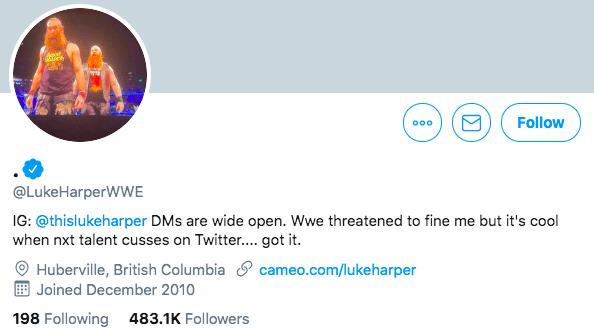 Luke Harper says WWE tried to fine him on Twitter