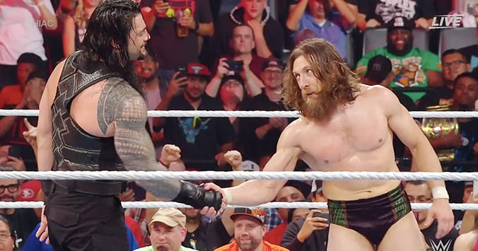 Roman Reigns and Daniel Bryan shake hands at Hell In A Cell 2019