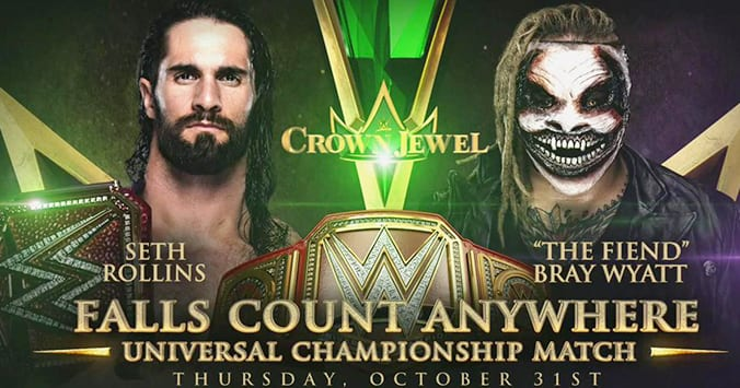Seth Rollins vs The Fiend Bray Wyatt - WWE Crown Jewel 2019 (Falls Count Anywhere)