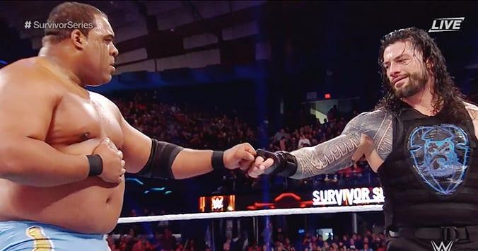 Keith Lee Roman Reigns Fist Bump Survivor Series 2019