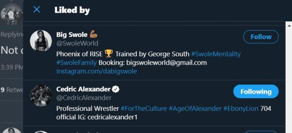 Cedric Alexander and Big Swole like Jordan Myles ACH's tweet