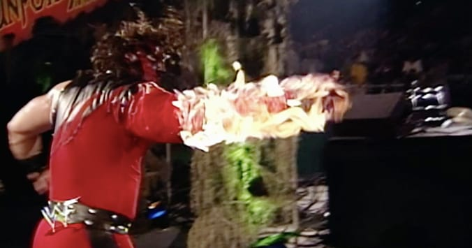 Kane On Fire In The 1st Ever Inferno Match With The Undertaker WWF Unforgiven 1998