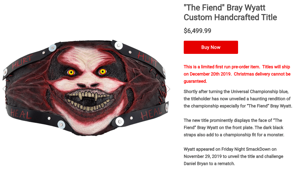 WWE Selling Fiend Title Belt For $6,500