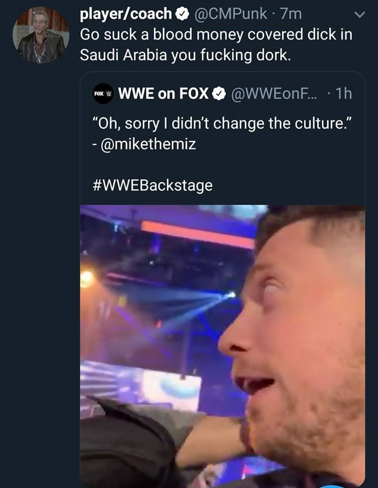 CM Punk tells The Miz to go suck a blood money covered dick in Saudi Arabia