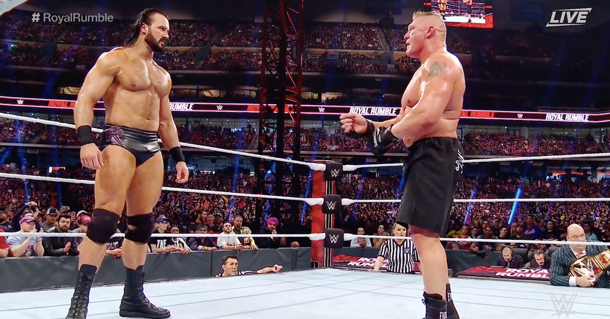 Drew McIntyre eliminates Brock Lesnar from Men's Royal Rumble 2020