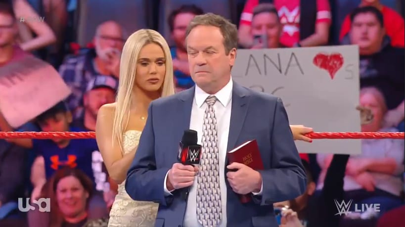 Lana & Bobby Lashley's wedding officiant tackled in the ring by WWE security on RAW