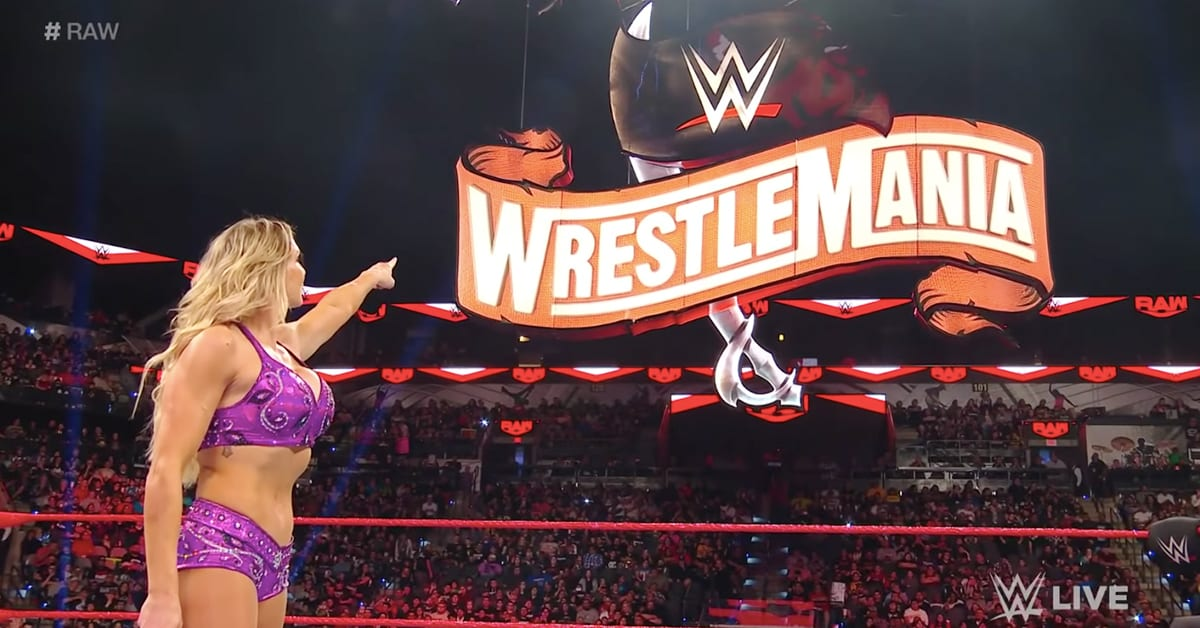 Charlotte Flair Points At WrestleMania 36 Sign On WWE RAW 2020