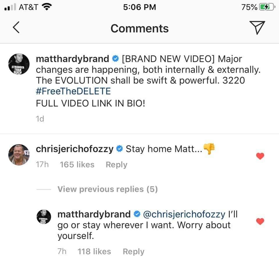 Chris Jericho Tells Matt Hardy To Stay Home, Hardy Tells Jericho To Worry About Himself