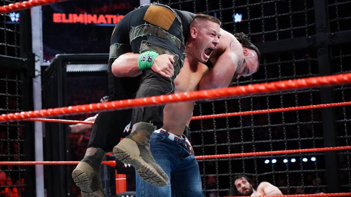 John Cena Attitude Adjustment Braun Strowman Elimination Chamber Match