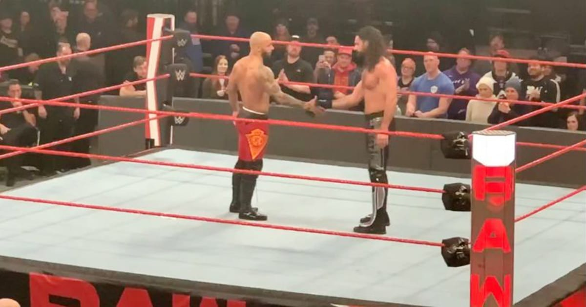 Ricochet and Seth Rollins shake hands after WWE RAW 2020