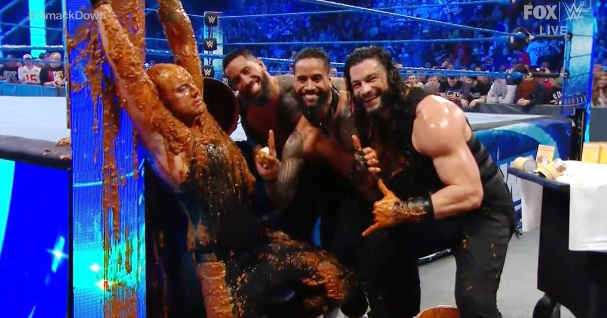Roman Reigns and The Usos shower King Baron Corbin with Dog Food On WWE SmackDown
