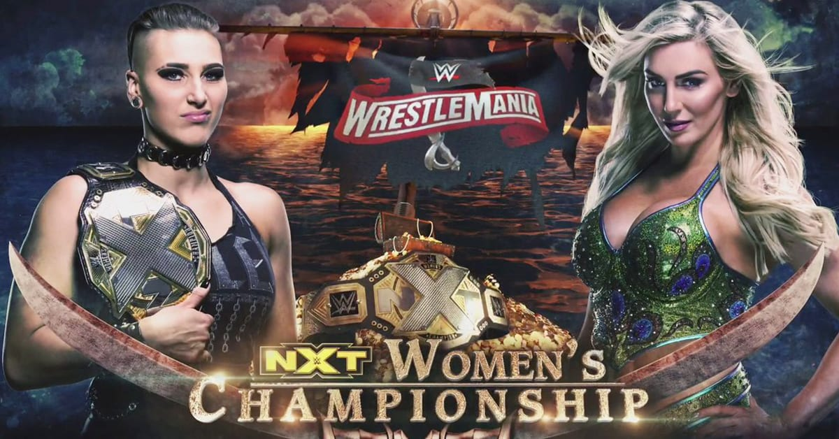 Rhea Ripley vs Charlotte Flair - WrestleMania 36 Official Graphic (NXT Women's Championship Match)