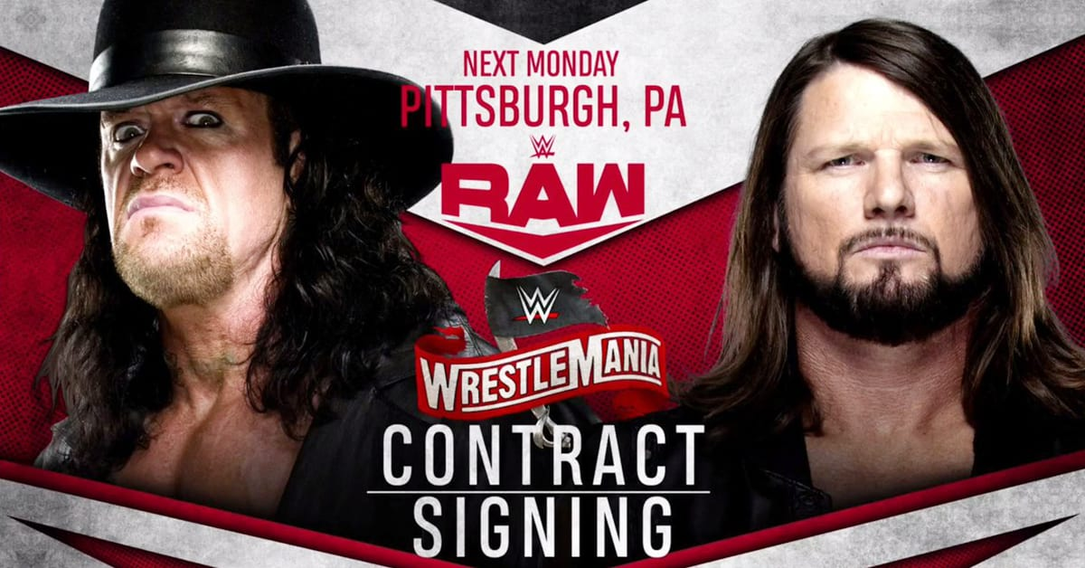 The Undertaker AJ Styles WrestleMania 36 Contract Signing On RAW March 2020