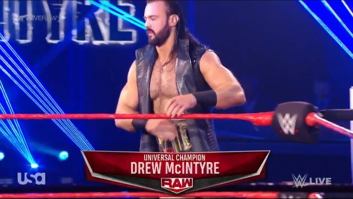 Drew McIntyre RAW Name Graphic Botch Universal Champion