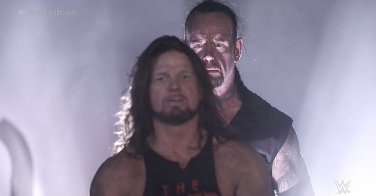 The Undertaker Standing Behind AJ Styles In White Light Boneyard Match WrestleMania 36