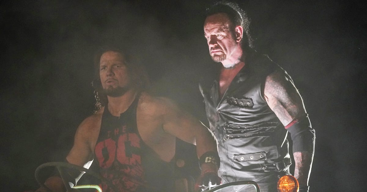 The Undertaker Standing Right Behind AJ Styles On Truck During Boneyard Match At WrestleMania 36