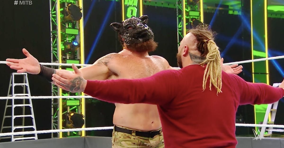 Braun Strowman with Black Sheep mask hugs Bray Wyatt at WWE Money In The Bank 2020