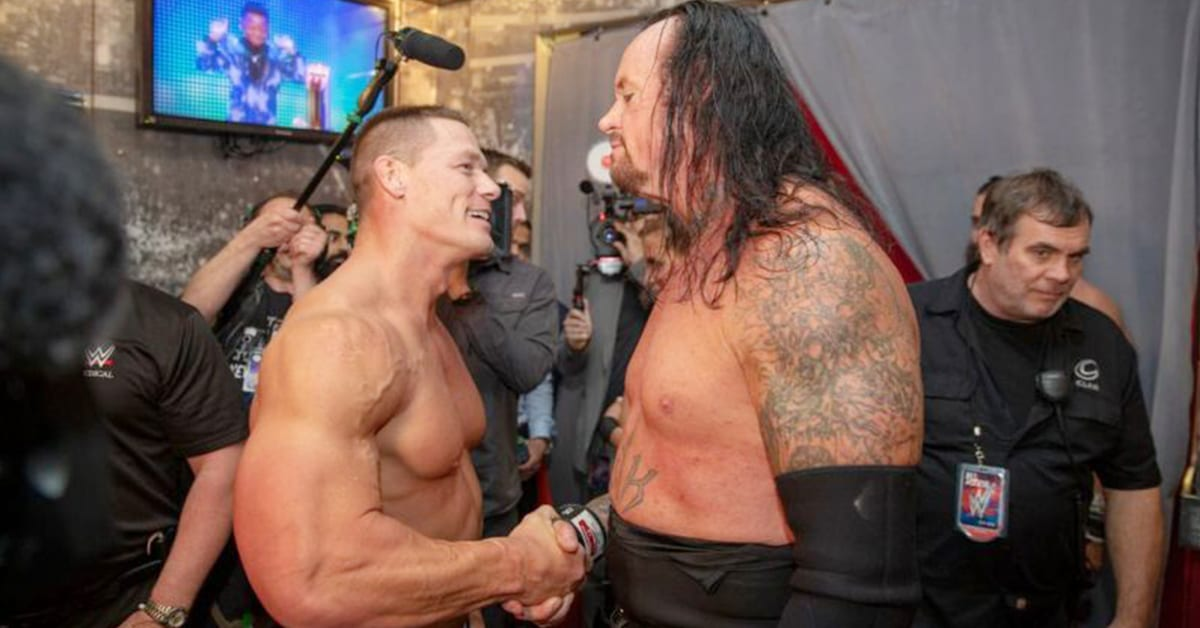 John Cena The Undertaker Shake Hands Backstage After WrestleMania 34 WWE Rare Photo
