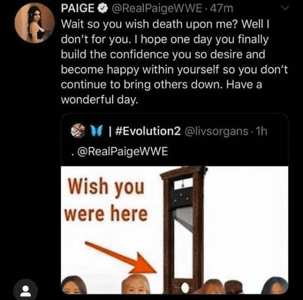 Paige reacts to a fan wishing death upon her