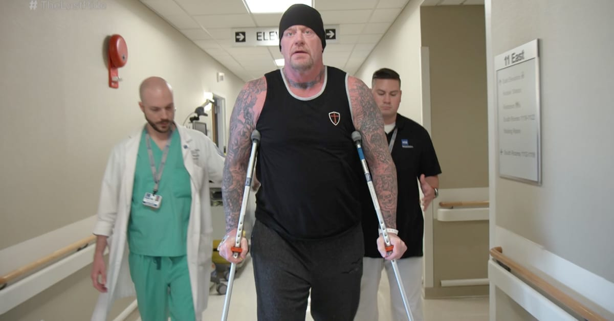 The Undertaker Using Crutches After Hip Replacement Surgery In May 2017