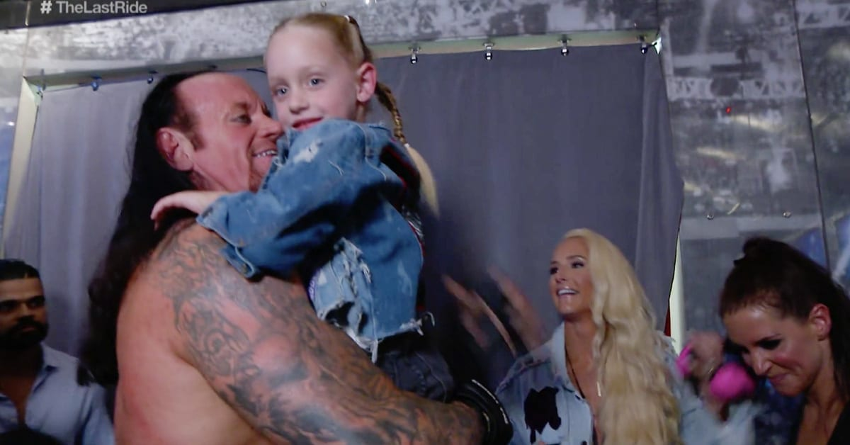 The Undertaker backstage after his WrestleMania 34 match with his daughter Kaia Stephanie McMahon Michelle McCool