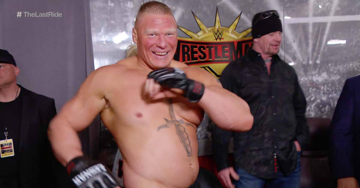 Brock Lesnar Smiling Laughing The Undertaker Backstage At WWE WrestleMania 35